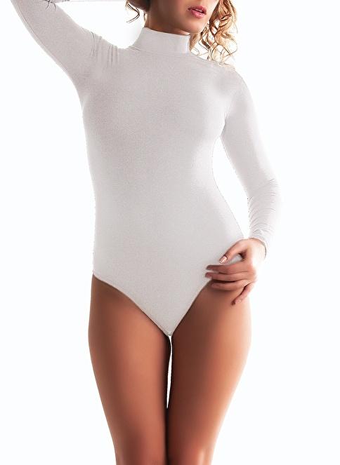 Miorre Uzunkol Yarım Boğaz Çıtçıtlı Body Beyaz